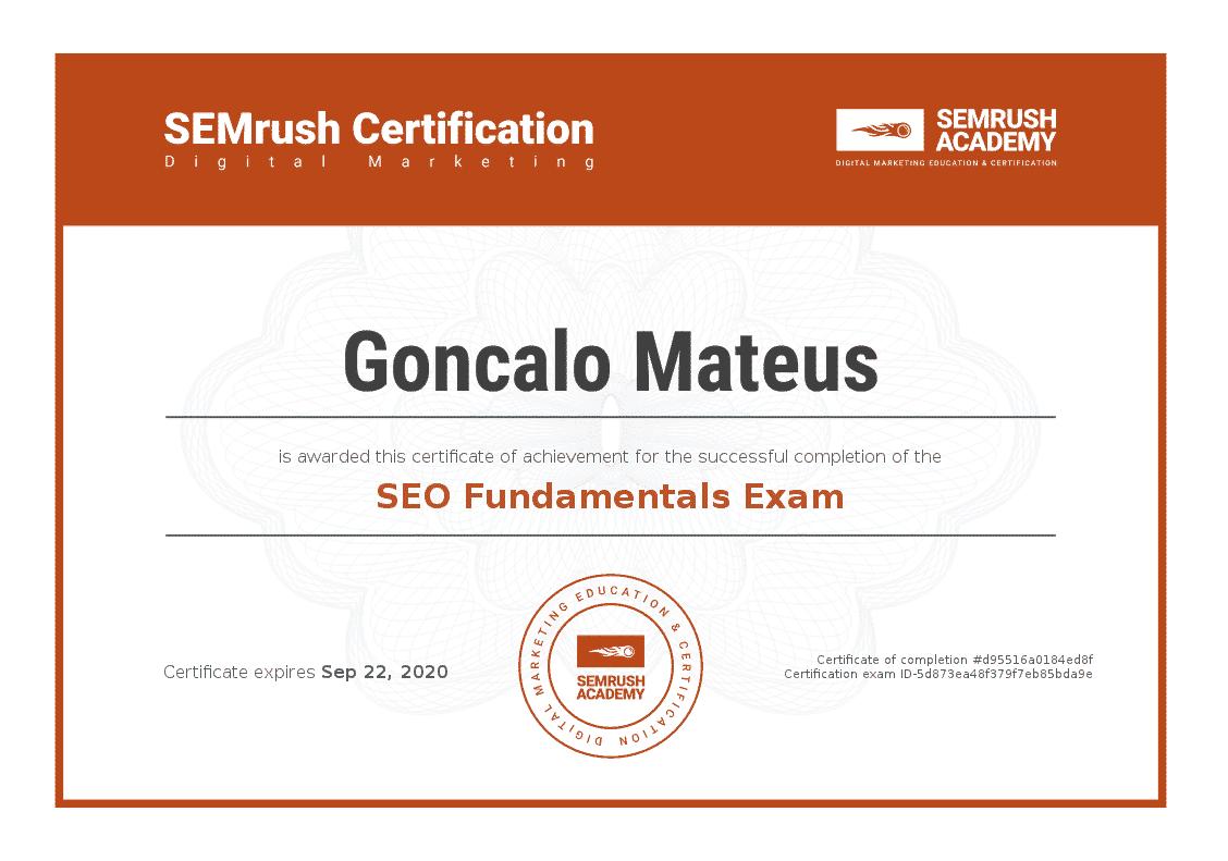 Imagem do Certificado de SEO Fundamentals da SEMRush Academy, em Português significa Optimização do motor de pesquisa