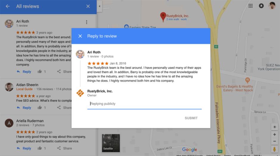 Os empresários podem responder a comentários da ficha do Google My Business no Google Maps 2