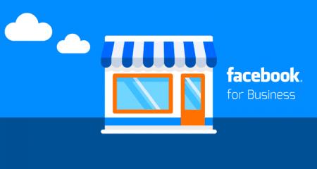 A imagem tem uma loja,negócio em azul e com Facebook For business escrito para representar Facebook para Negócios Workshop