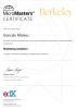Imagem do Certificado de Micromasters Marketing Analytics da Berkeley Universidade, em Português significa Micro-Mestrado de Marketing Analítico