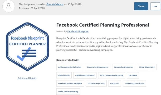 Imagem do Certificado de Facebook Certified Planning Professional do Facebook Blueprint, em Português significa Profissional de Planeamento Multimédia Certificado do Facebook