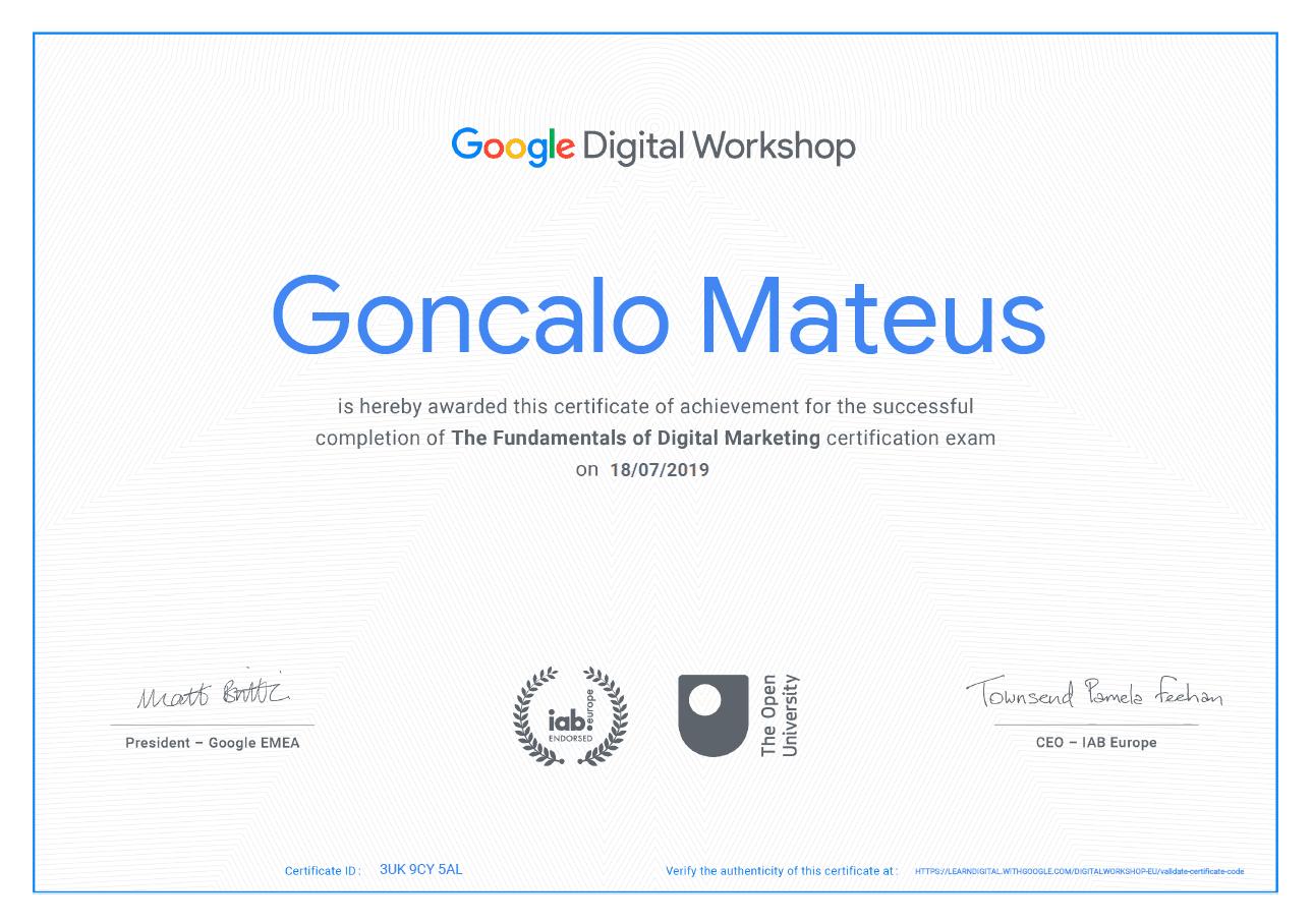 Imagem do Certificado do Google para a qualificação Google Digital Workshop