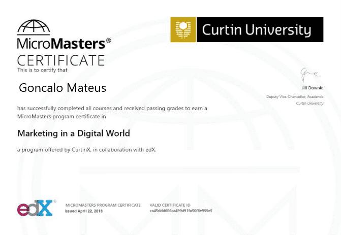 Imagem do Certificado de Micromasters Marketing in a digital world da Curtin Universidade, em Português significa Micro-Mestrado de Marketing num mundo digital