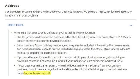 Google My Business esclarece as regras sobre escritórios virtuais 1