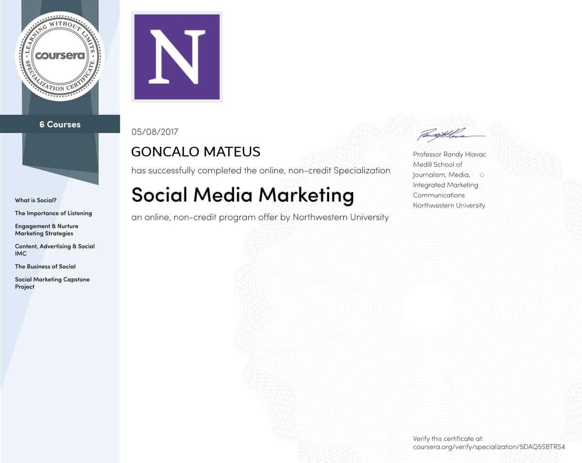 Imagem do Certificado Social Media Specialization da Northwestern University, que significa em Português Especialização de Marketing nas Redes Sociais